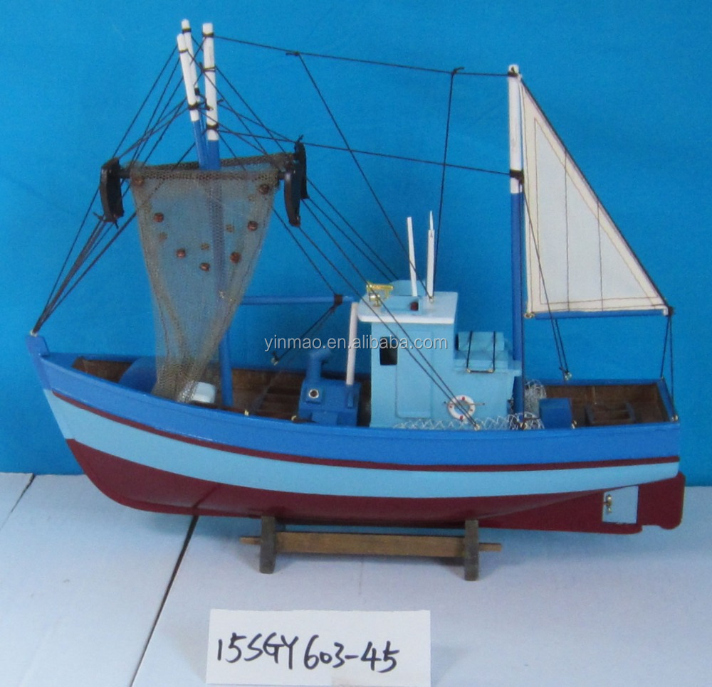 Wooden Crab Boat Model with 2 Fishing nets, Blue 45x14x37cm, Fishing Shrimp ship model with a sail, yacht vessel replic model