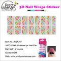 Colorful 3D Nail Sticker Korea Nail Art 16pcs Nail Wraps Decoration