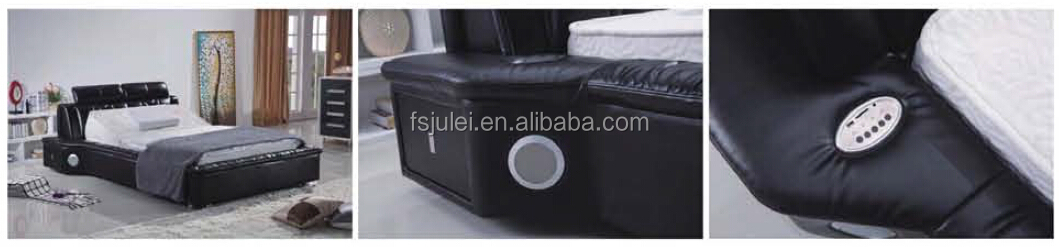 Hotel Bedroom Furniture Black Color With Music Player Media Leather Bed