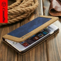 2016 New Arrive Stand Book Pouch Linen With Card Slots Wallet Flip Leather Jean Cloth Case for Iphone 6 6s Plus