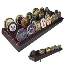 <strong>Hot</strong> 4 Roll Large Challenge Coin Wood Display Case Military Souvenir Coin Display Holder in Stock