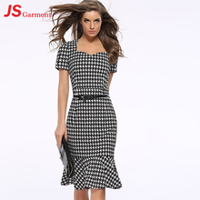 JS 20 Houndstooth Fishtail Gown Summer Party Fashionable Dress For Fat Women 713