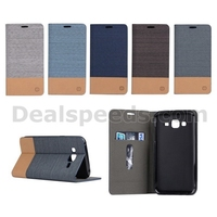 Two-color Linen Texture Leather Stand Case for Samsung Galaxy J5 SM-J500F
