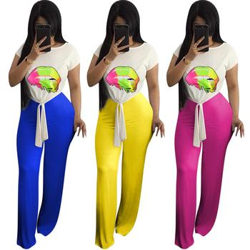 Wholesale 88$/10PIECES Summer new lip print short-sleeved T-shirt and wide-leg trousers two-piece trouser set