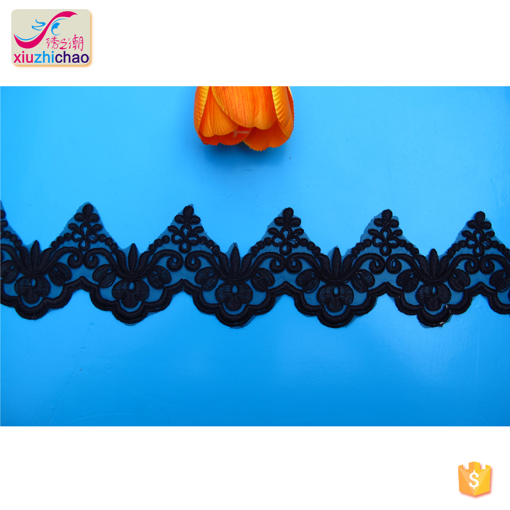 X10103 fashion design embroidery border lace trims with pearl