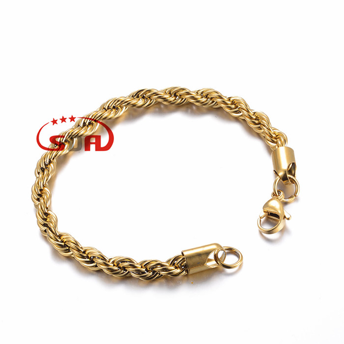 6MM 316L Stainless Steel Bracelet Necklace Singapore Rope Chains Trendy 6MM Thick 18K Gold Plated Men Jewelry Bracelet