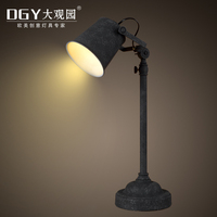 Iron made antique table lamp base electric office metal table lamps tall