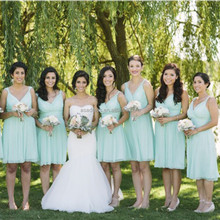 BD32 Elegant Sweetheart Girl Prom Gowns for Maid of Honor Strapless Knee Length Mint Green Bridesmaid Dresses 2015