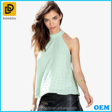 2015 Hot Selling Chiffon Tops/Cheap Tops /Sleeveless Halter Top