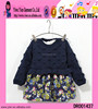 Winter Knitted Children Girl Dress Blue And Red Children Girl Dress