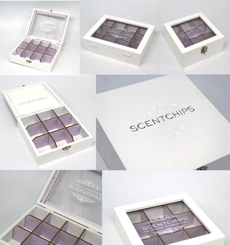 Jewelry Organizer Glass Top Box White Storage Organizer Case