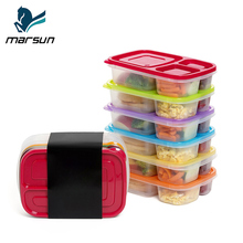 China Factory Meal Prep 6 Packs Colorful 3-compartment Microwave Plastic Food Containers Bento Lunch Box For Kids