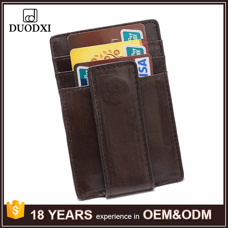 Men Vintage Real Leather Money Clip Brown ID Holder Front Pocket Wallet
