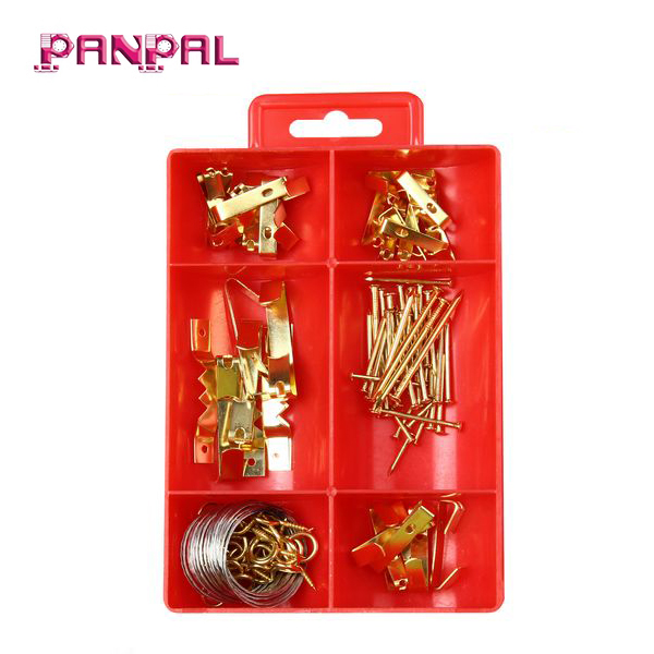 BSCI factory hot sale PS box package 100pcs of assorted sizes iron brass plated household picture hanging <strong>hooks</strong>