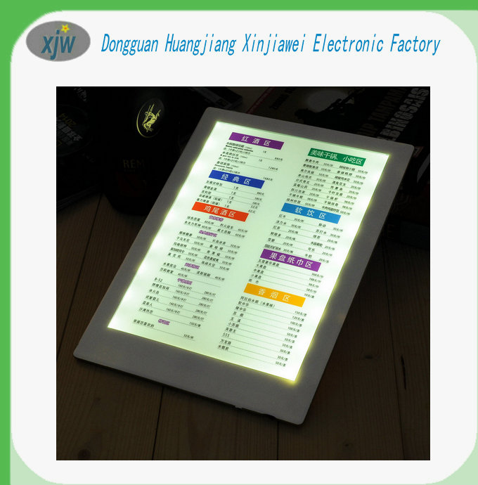 2016 Factory retail price single page A4 paper wine price list insert illuminated led menu borad used for club and bar
