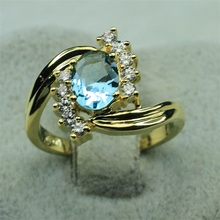 SJ New Arrival SJJX0472 Alluring Brass Yellow Gold Plated High Quality Cubic Zirconia Simulant Aquamarine Diamond Wedding Ring