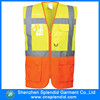 Wholesale fluo yellow safety work vest with many pockets