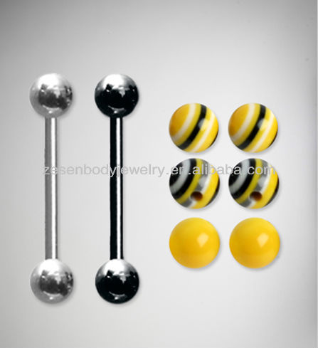 Titanium straight barbell yellow black acrylic ball tongue ring ,tongue piercing jewelry
