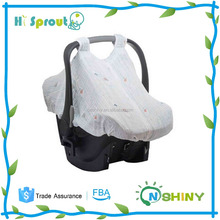 Customized pattern muslin cotton baby car seat canopy