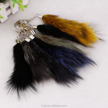 2016 New Fashion Faux Fox Fur Tail Keychain Key Ring Pendant For Handbag Car Key Accessory For Women Girls