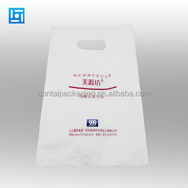 LDPE print white polka dots die cut plastic shopping carrier bag for clothing store/patch handle bag