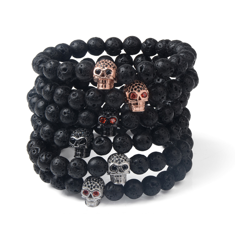Lava Stone Micro Paved CZ Stone Skull Bracelet Wholesale Fashion <strong>Jewelry</strong>