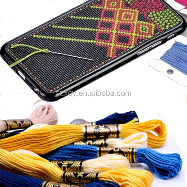 hot sale grid DIY cross stitch cell phone case for iphone 4 5 6