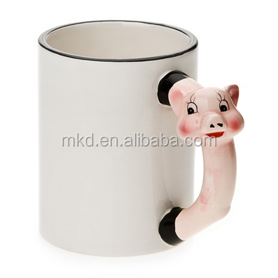 MEIKEDA 11OZ Blank Sublimation Mug With Cute Pig Handle