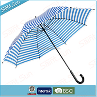 White And Blue Stripe Printng Straight Umbrella