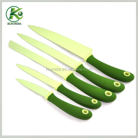 Modern funny fish handle wholesale kitchen knife set with solid color coating