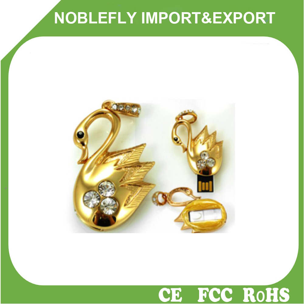Escrow USB Factory Jewelry Swan Design USB Flash Drive Necklace