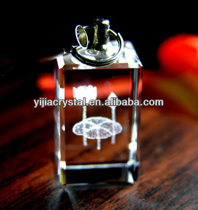Nice Promotional Gift 3D Laser Engraving Crystal Glass Keychain with LED Light