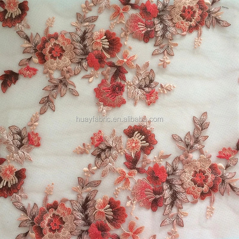 Embroidered fabrics with big flowers net lace fabric dubai polyester material pakistani trustwin lace HY0346