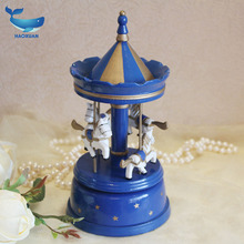 Blue wood music box Eight sound box ornaments wooden craft