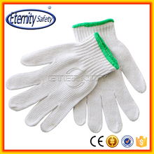 Better grip white Poly cotton string knit work gloves - made in China