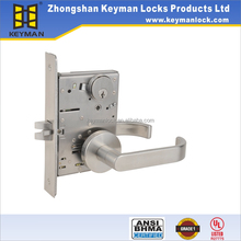 ANSI mortise door lever lock easy to install with Entry/privacy/passage function