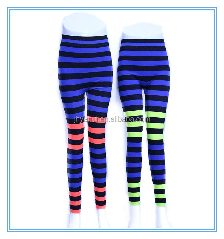 Ladies seamless colorful stripes sport yoga pant