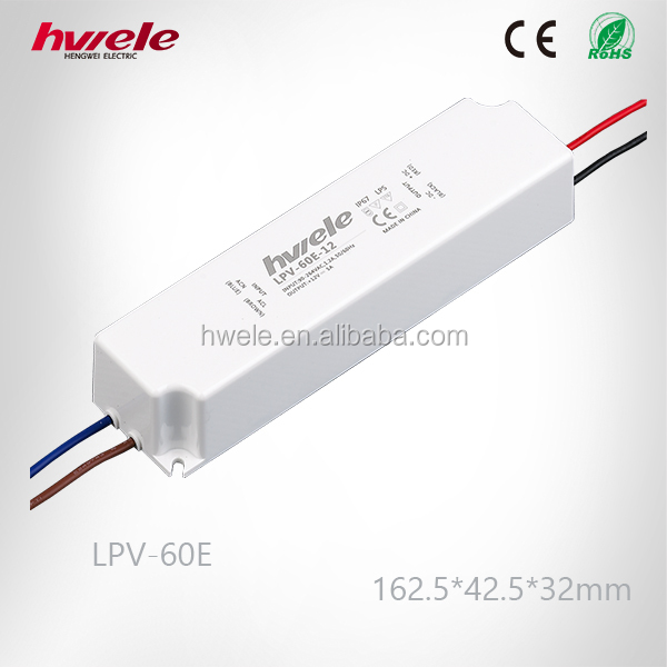 LPV-60E LED constant voltage waterproof switching power supply with SGS,CE,ROHS,TUV,KC,CCC certification