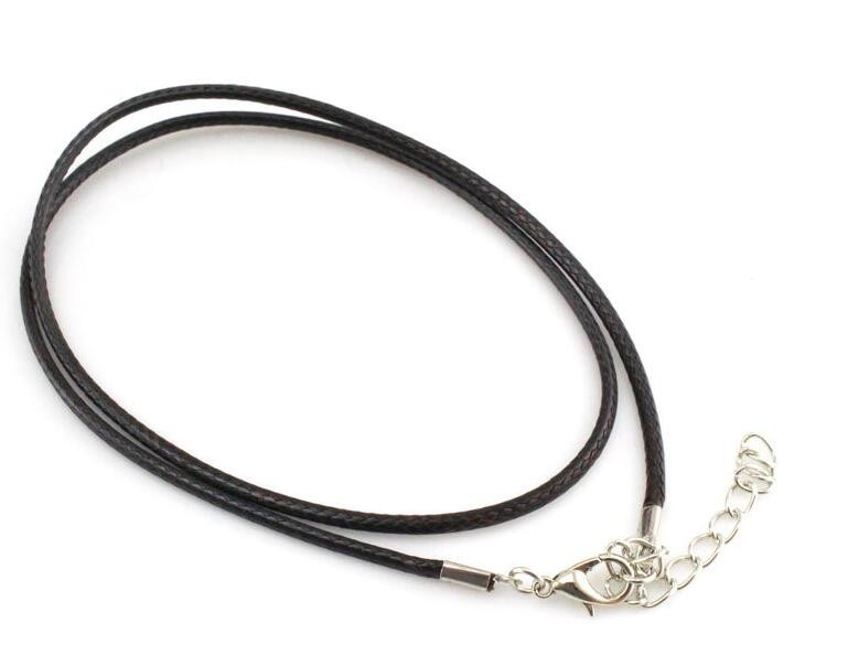 DIY Cheap Black Wax Cord Snake Necklace Beading Cord Rope Wire Extender Chain with Lobster Clasp