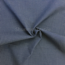 Deep blue small check poplin yarn dyed fabric for t-shirts