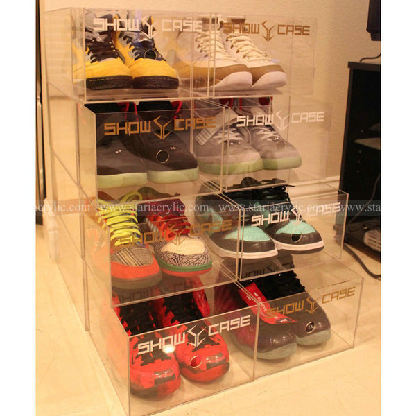 Stackable Acrylic Shoe Boxes with finger hole, Acrylic Stack Shoe Display Case, Acrylic Storage Drawer boxes for shoe
