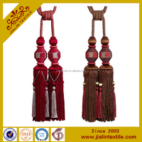 Curtains designs rayon material bullion fringe curtain tassel tieback with beads and flower decoration for home