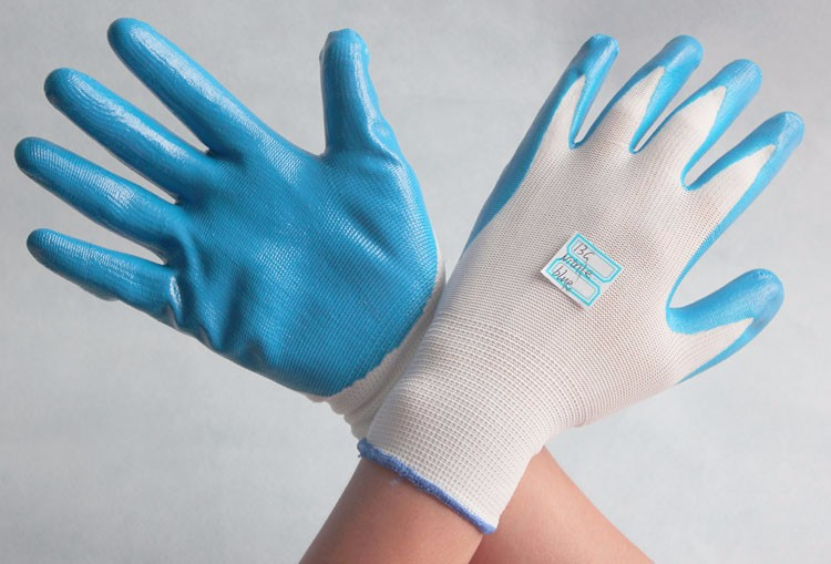 cheap white Nylon knitted work gloves coated with blue nitrile palm