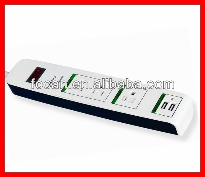 110V UL 3 Outlet Surge Protector with 2 usb charger port for American Market