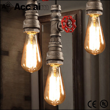 American rural creative water pipe chandelier industrial wrought iron pipes drop light