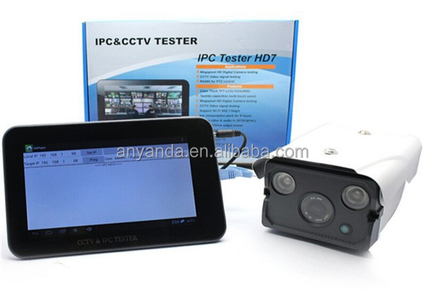 "Newest 7"" HD ip camera cctv tester with onvif ,PING,PTZ controller"