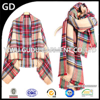 British plaid scarves, ms Korea autumn and winter long double square cape dual-use, imitation cashmere women scarf shawl