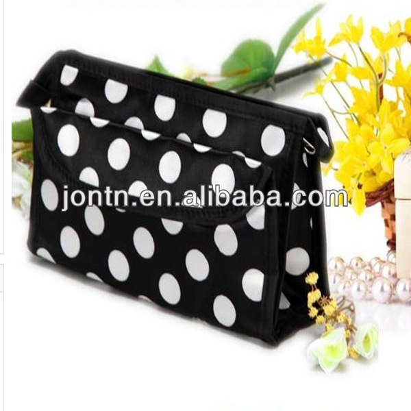 polyester White dot Portable travel cosmetic bag