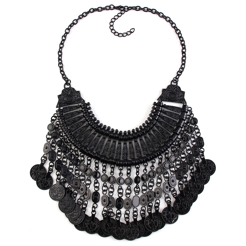 New Arrival statement neckalce black and silver color coins pendant metal chunky necklace jewelry 51807