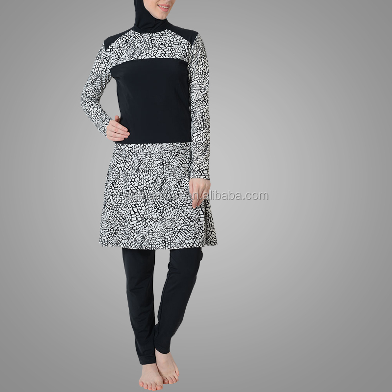 New Model Fashion Cement Print Flare Swimsuit Muslim Clothes Malaysia Swimsuit Islamic Clothing